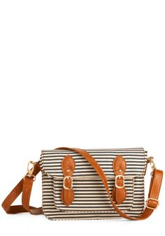 Quite a Hull Bag - Casual, Nautical, Brown, White, Stripes, Buckles, Pockets, Trim, Blue, Work