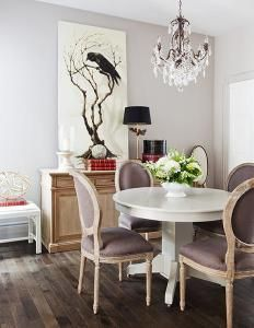 High style dining room in grays give a cool and sophisticated space that can be dressed up or down.