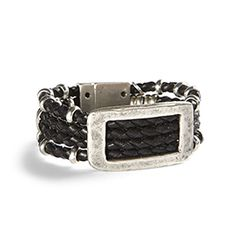"""Dauntless Bracelet - Black leather and bright silver plate come together in singular style. Buckle and beads take a shine to four hand-braided leather tiers. Magnetic closure. 7.25""""L. Made in Spain. https://www.morinda.com/3764125/en-us/shop/3795999#product&pid=3796540"""