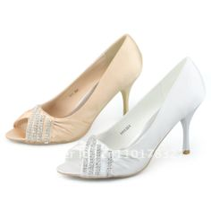 SHOEZY Elegance Womens White and Gold Satin Diamante Peep Toes Pumps Bridal Bridesmaid Party Dress Mid Heels Sandals Shoes  US $26.99 - whole sizes