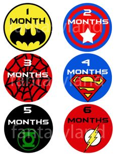 5a5dcc4565d Baby Months 1-12 PRINT at home Baby Shower Shirt Birthday DIY Printable Super  heros