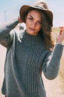 Пуловер резинкой и косами спицами