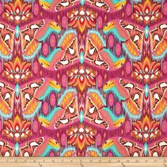 Tula Pink Eden Atlas Tourmaline from @fabricdotcom  Designed by Tula Pink for Free Spirits Fabric, this cotton print fabric is perfect for quilts, home décor accents, craft projects and apparel. Colors include turquoise, coral, gold, red and pink.
