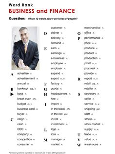 Business and Finance, vocabulary, ESL, English phrases, http://www.allthingstopics.com/business-and-finance.html