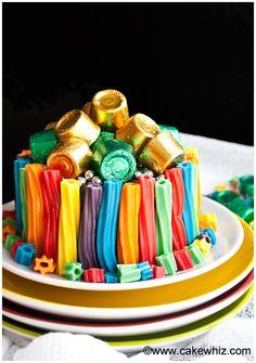 Easy rainbow twizzler cake #dessert #celebrations #rainbow