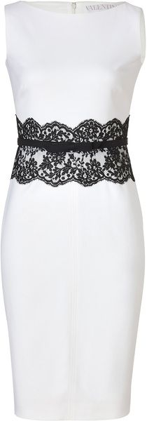 Valentino Ivory Belted Wool Dress with Black Lace Waist in White