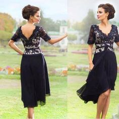 Navy Blue Chiffon Lace Knee-length Mother Of the Bride Dresses 2017 Summer Beach Wedding Party Dress Half Sleeve Plus Size Cheap Gown