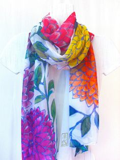 Hand Painted Silk Scarf Floral, Spring Bloom Scarf. Silk Chiffon Scarf. French Silk Dye 22x90. Made to order.