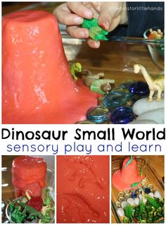 Easy dinosaur activities for preschoolers for exploring and learning all about dinosaurs. Our dinosaur activities feature great hands on learning and sensory play. Dinosaurs Preschool, Dinosaur Activities, Preschool Themes, Sensory Activities, Preschool Activities, Dinosaur Play, Sensory Tubs, Sensory Boxes, Sensory Play