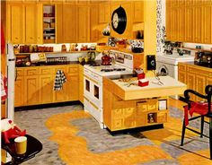 The Story of Hazel Dell Brown, interior design expert of Armstrong Cork Company. yellow kitchen vintage Armstrong flooring ad.