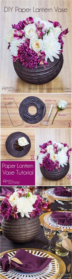 DIY Paper Lantern Vase Centerpiece | DIY Fun Tips