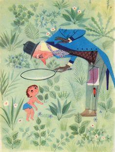 """Ugo Fontana illustration for """"Festa dei bimbi : libro di letture per la prima classe"""", 1958""""."""