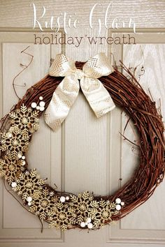 Jazz up your front door with a Rustic Glam Holiday Wreath. This DIY glittery…