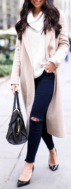 Latest Arrivals Casual Neutrals – White Oversize Cowl Neck Sweater with Long Wool Overcoat with Skinny Jeans.
