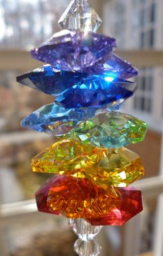 """Melody - One of the best rainbow makers - 10"""" Suncatcher, 40mm Swarovski Crystal Heart Prism, Swarovski Crystal Octagons in Rainbow Colors"""