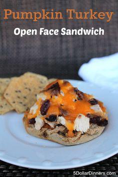 Pumpkin Turkey Sandwich ~ terrific Thanksgiving leftovers idea | 5DollarDinners.com