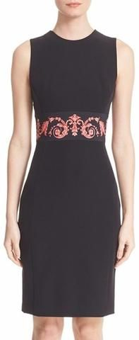 Black Print Waist Sheath Dress