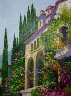 "Original Painting ""Villa in Venice, Italy"" by Howard Behrens"