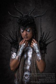 Model: Artist KLA Photography: Ian Carre-Burritt Bodypaint: Michael Rosner Headdress & Shoulder Epaulettes: Miss G Designs HMUA: Yuma Bastet #headdress #headpiece #horns #epoaulettes #crown #bodypaint #bodyart