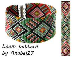 Items similar to Bead loom pattern - Square stitch pattern - ethnic style - bracelet pattern - beaded pattern on Etsy Ethnic Patterns, Bead Loom Patterns, Beaded Jewelry Patterns, Peyote Patterns, Craft Patterns, Bracelet Patterns, Beading Patterns, Stitch Patterns, Knitting Patterns