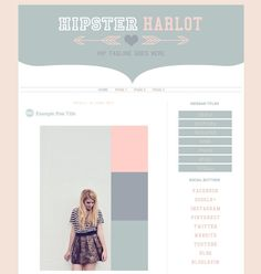 "Blog Template Design for Blogger ""Hipster Harlot"" Stylish Blog / Cute / Instant Download / Fashion Blog Layout"