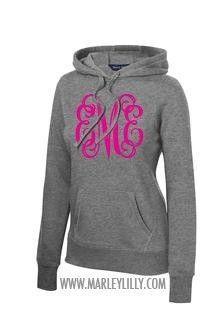 Cute monogrammed pull-over hoodie