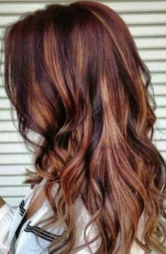 curly hair styles long chocolate brown with caramel highlights balayage curls 4763 | 9cd731309ec2b6f7741caac5a36e4763 fall hair colors red hair color