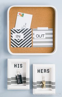You want everything in its place, and this time, that place is a shadow box! Mail organizer: square tray, cork roll, file folders (cut to size and sealed with double-sided adhesive), and alphabet stickers.