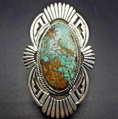 Huge NAVAJO Sterling Silver & Tightly Webbed ROYSTON TURQUOISE RING, size 6.75 #SUNWESTSILVER