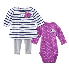 JUST ONE YOU Made by Carters ® Newborn Girls' Elephant 3 Piece Set - Purple/Grey/White