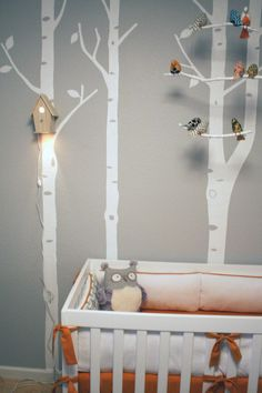 Modern TreeTop Baby Birdhouse Lamp with stenciled birch trees