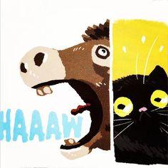 Dia Internacional do Livro Infantil? Direto na fonte: a arte de @karlkerschl está na versão em quadrinhos de Os Músicos de Bremen do livro FAIRY TALE COMICS, coletânea de contos de fada em versão gibi, com grandes desenhistas e artistas da editora @01firstsecond Infelizmente, inédito aqui 😞 #literaturainfantil #livroinfantil #diadolivroinfantil #irmaosgrimm #fairytale #grimmbrothers #01firstsecond #brementownmusicians #comics #gibi #quadrinhos #hq #cat #donkey