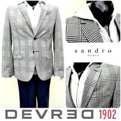 Devred has been suiting Italians since 1902, and now we're featuring this gray and black windowpaned sport coat for one lucky Nashvillian. Paired with a Sandro zippered jacket and John Varvatos slacks, you'll have a winning casual Friday look!<br />Featured items: Devred sport coat (39R), Sandro jacket (M), John Varvatos slacks (34) - #nashville #hip2flip #consignment #menswear #designerconsignment #devred #sandromenswear #johnvarvatos