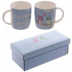 Set de 2 mugs en porcelaine désign Chouettes