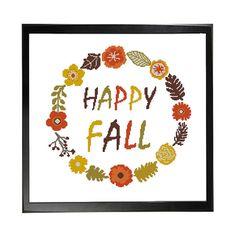 Happy Fall Wreath Autumn Flowers Cross Stitch by LefojaCrossStitch