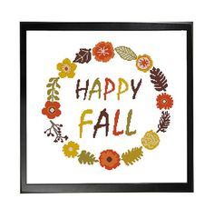 Happy Fall Wreath Autumn Flowers Cross Stitch by LefojaCrossStitch