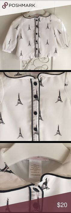 Janie And Jack Paris Eiffel Tower blouse Sz 3-6m Adorable Janie And Jack Parisian blouse, buttons up, only worn once!! Size 3-6m   Welcome to Fabulous Fancy's Closet! Let me pour you a touch of champagne while you browse 😉🍾🥂! I sell an array of goodies, some pre-loved, some brand new... all are 100% authentic everything listed comes from our loving home, which is pet-free & smoke-free.  If you have any questions please feel free to ask!!  Please see photos for details Janie and Jack…