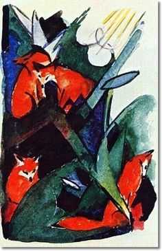 Franz Marc - 4 Foxes, 1913 #art #expressionism