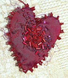silk heart with embroidery