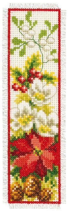 Marcador: Navidad flores de Vervaco - Marcadores - Kits Bordado - Casa Cenina
