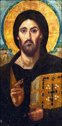 Christ the Pantocrator, Encaustic   icon, 6C, Monastery of St. Catherine, Mount Sinai ☩