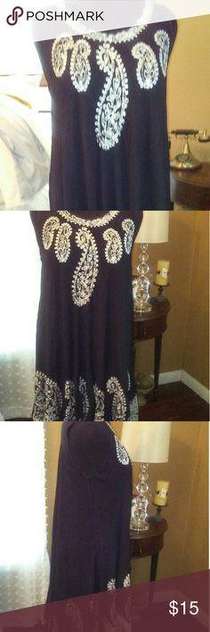 Venice Blue.  Black Paisley print sun dress. Venice Blue. Black paisley print sun dress 40 inches in length. Made with 100% viscose . by Venice Blue Dresses High Low