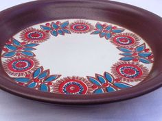 "50s Figgjo flint Turi design sauce pan with floral motif from Norway.  Marked ""Norge Figgjo flameware, Decor: Astrid.""  Norwegian 1950s retro vintage red white blue brown"