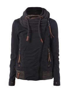 NAKETANO Jacke mit breitem Sweatkragen in Schwarz | FASHION ID Online Shop