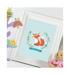 Fox I love you,fox flower,fox red,watercolor,digital art print,nursey decor,children room decor,Maternity Gift,300 dpi, high resolution,