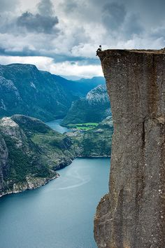 The Pulpit Rock (Preikestolen), the most famous tourist attraction in Ryfylke, towers an impressive 604 metres over the Lysefjord in Norway