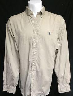 Ralph Lauren Khaki Tan XXL Long Sleeve Button Front Shirt 2XL #RalphLauren #ButtonFront