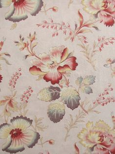 Vintage French c1920 fabric ~ gorgeous faded tones, ideal for period interiors ~ soft pastel tones ~