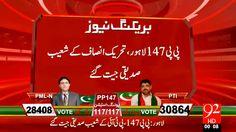 پی پی 147 لاہور تحریک انصاف کے شعیب صدیقی جیت گۓ