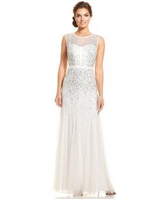 Adrianna Papell Sleeveless Beaded Illusion Gown - Dresses - Women - Macy's